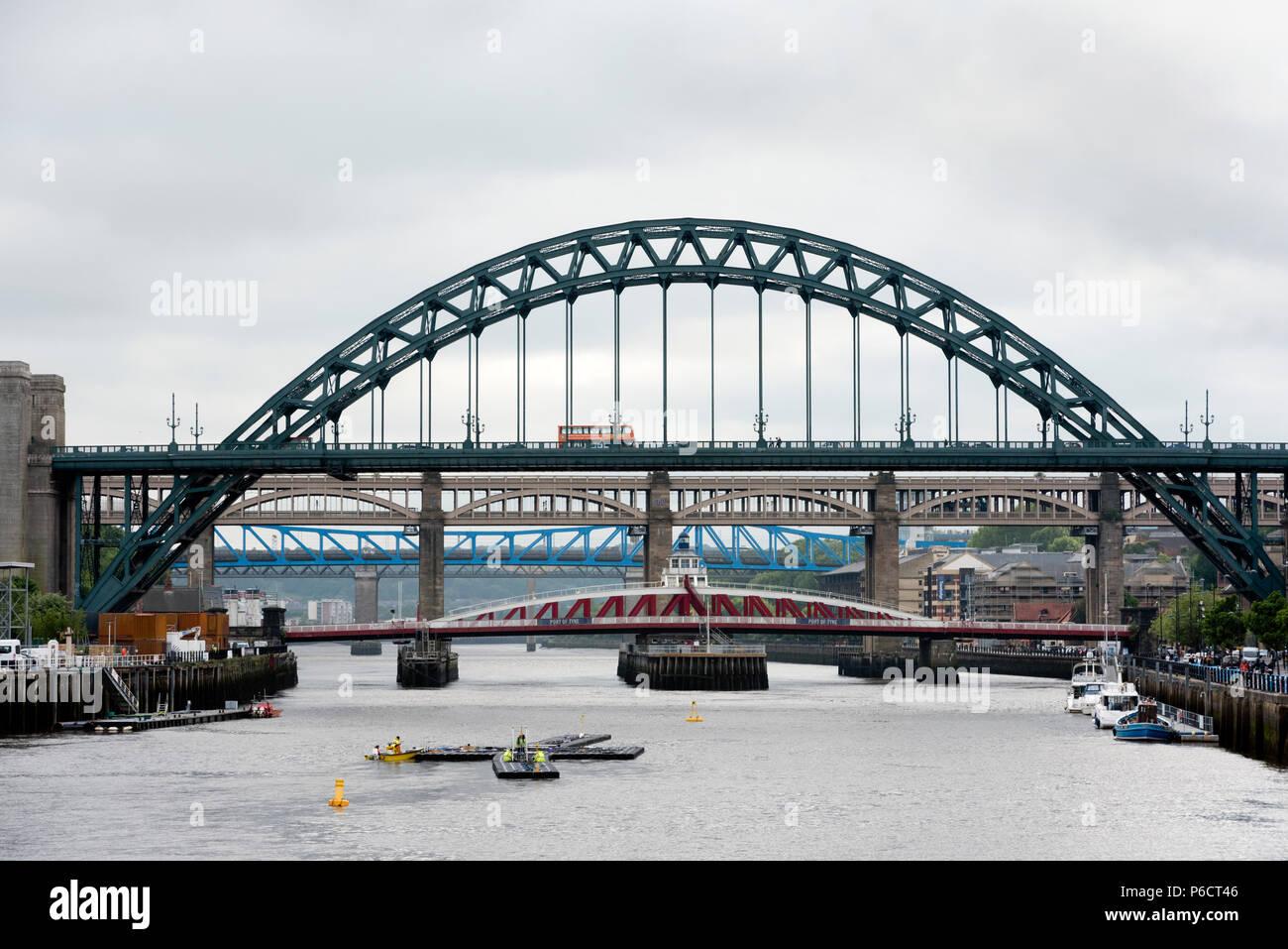 The River Tyne, showing The Tyne Bridge, The Swing Bridge and the High Level Bridge, Newcastle-upon-Tyne, UK - Stock Image