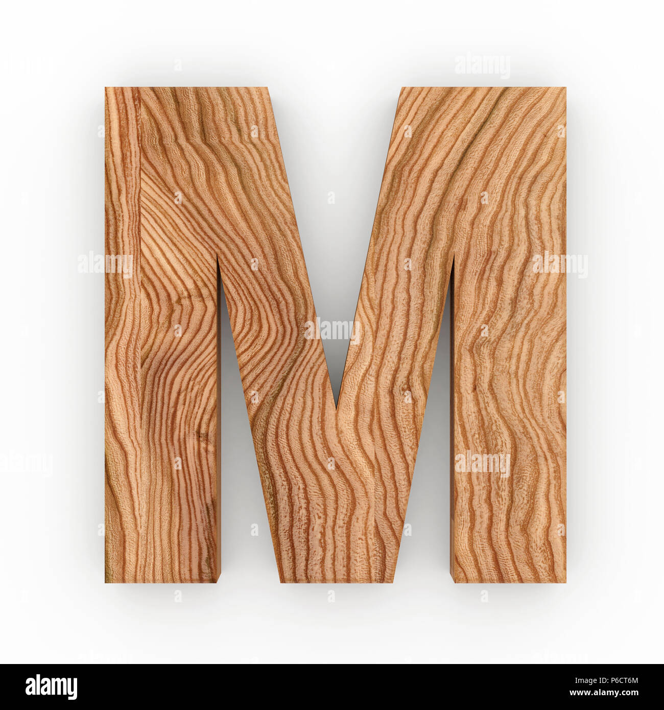 wooden letter m isolated on white background