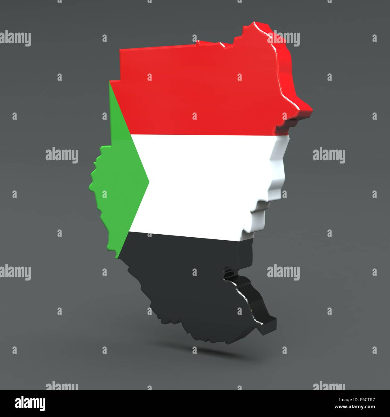 Africa countrie sudan 3D flag maps on a grey background Stock Photo ...