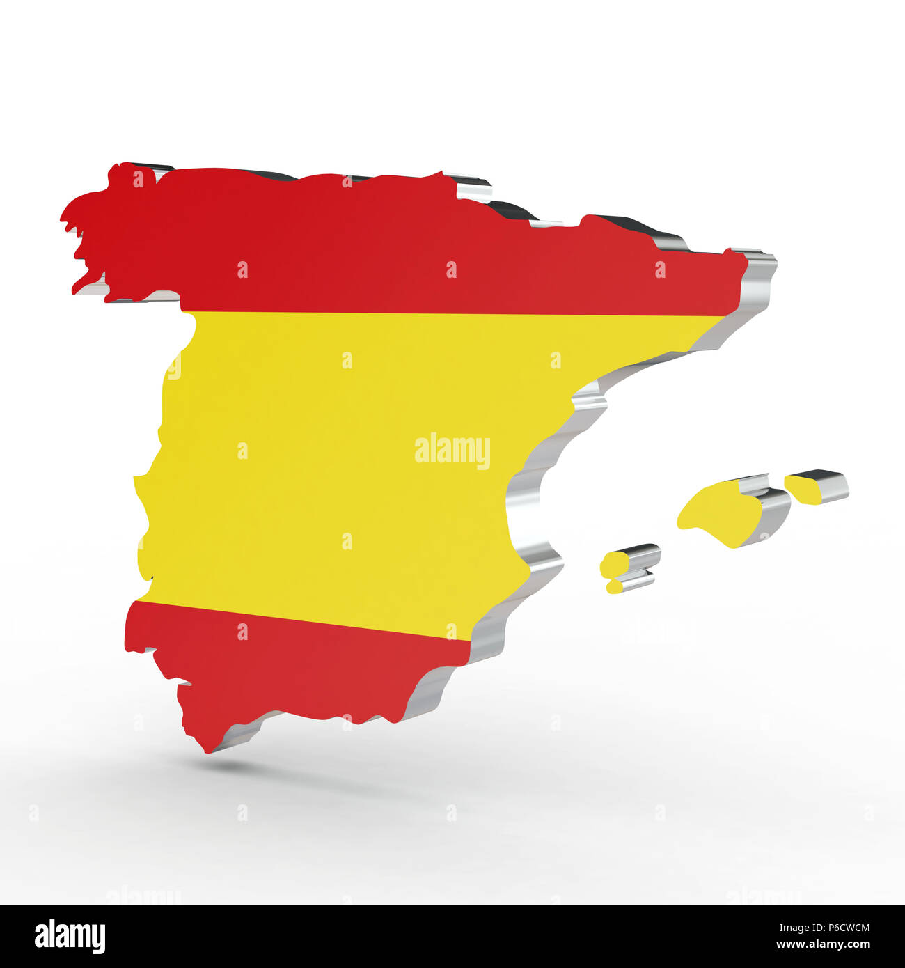 3d Map Of Spain.Europe 3d Map Of Spain Isolated On White Background Stock Photo