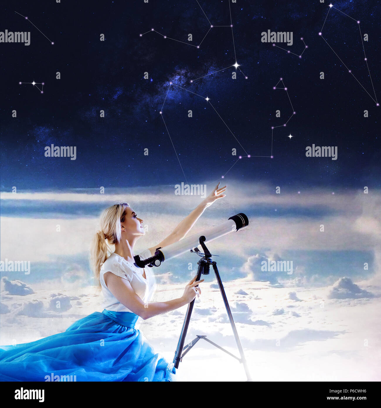 Young Woman Dreams Of The Future Concept Girl In The Sky With Clouds Looks Up And Uses A Telescope Dream And Set Goals Look Through The Telescope Stock Photo Alamy