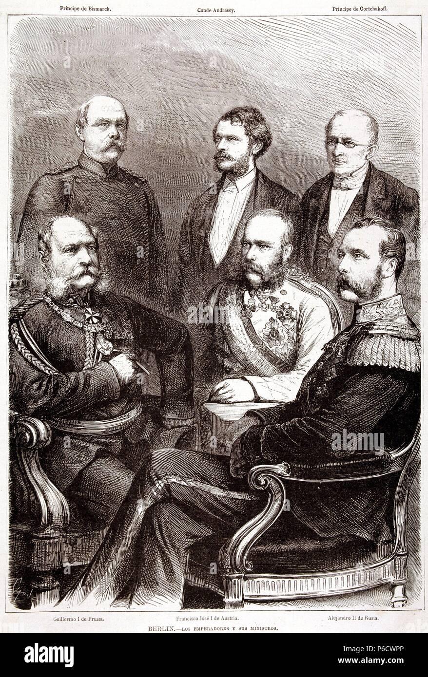 FRANCISCO JOSE I. EMPERADOR DE AUSTRIA. 1830-1916. JUNTO A GUILLERMO DE PRUSIA Y ALEJANDRO II DE RUSIA. GRABADO DE LA ILUSTRACION ESPAÑOLA Y AMERICANA. - Stock Image