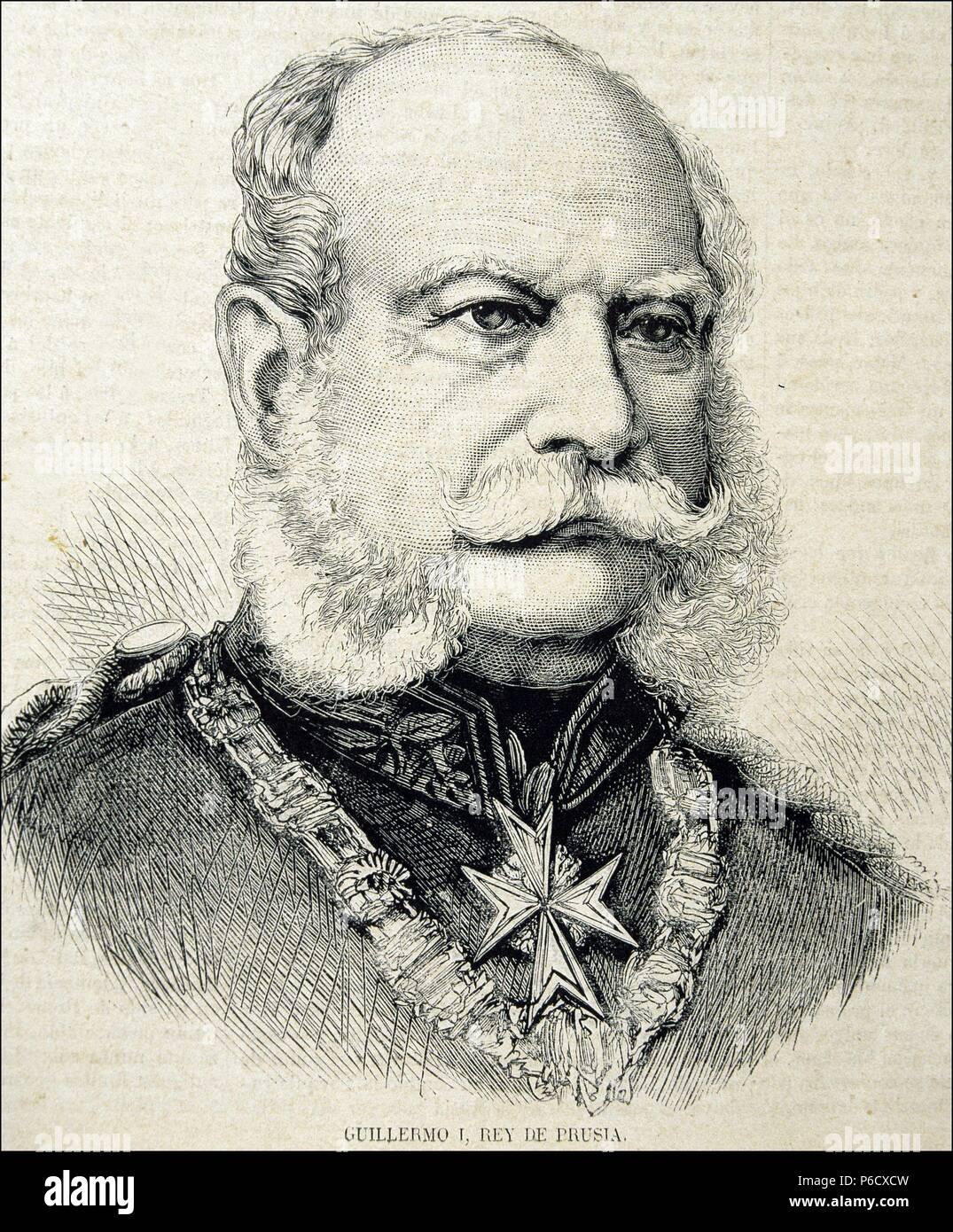 GUILLERMO I. REY DE PRUSIA. 1861 - 1888. GRABADO RETRATO DE LA ILUSTRACION ESPAÑOLA Y AMERICANA. - Stock Image