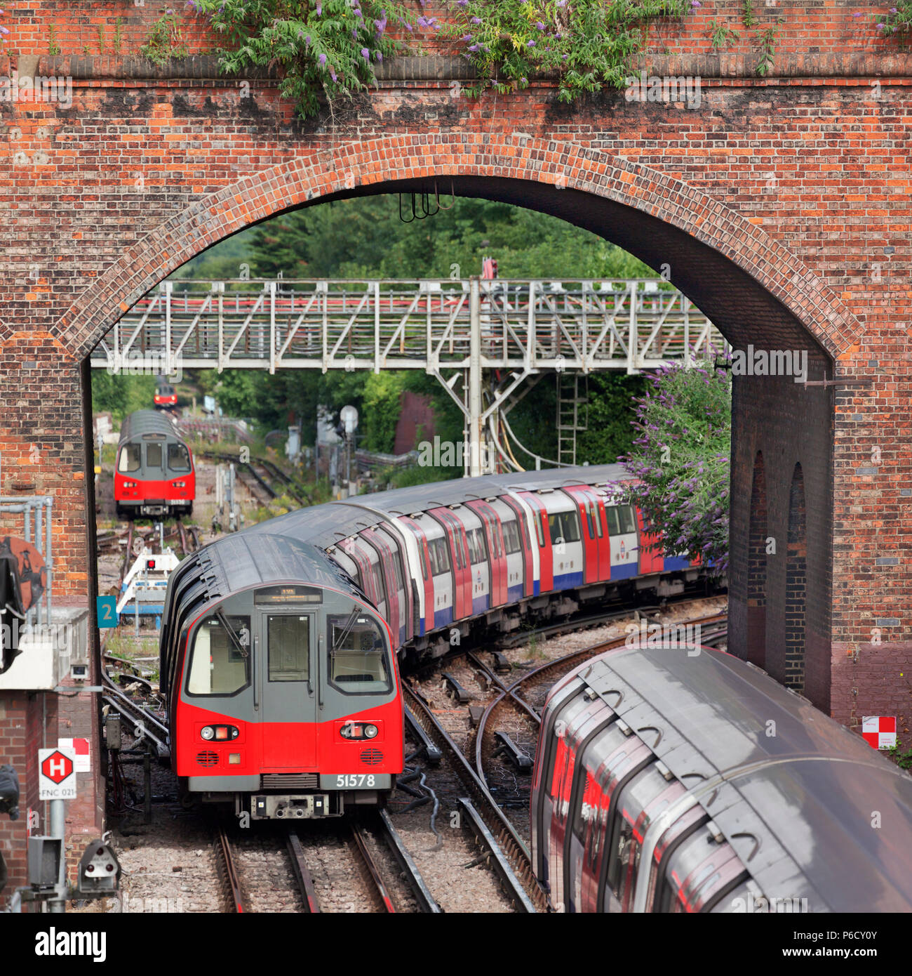 A jumble of Underground trains at Finchley Central where the Northern line branches to Mill Hill East and High Barnet. - Stock Image