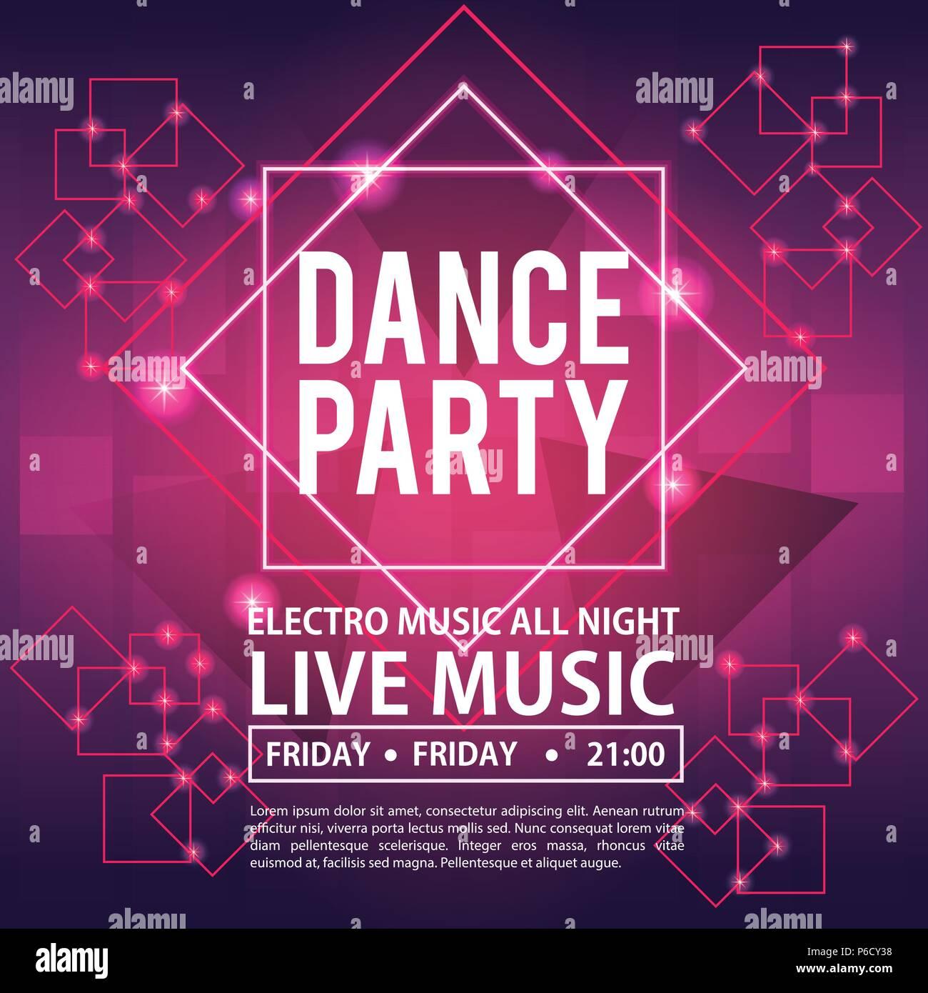 Dance Party Invitation Card Vector Illustration Graphic