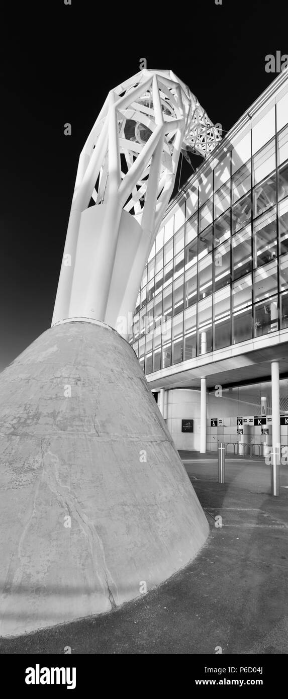 The concrete foot of the Steel arch of Wembley stadium, known as the 'Wembley arch' supports the roof structure is 134 meter (440 ft) high with a span - Stock Image