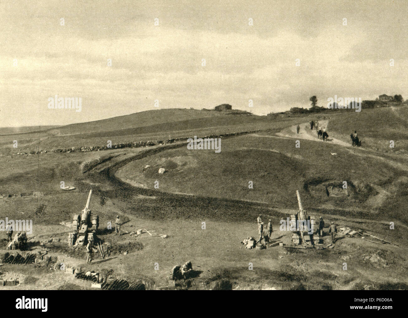 macedonia, French artillery, 155 mm Gun, ww1, wwi, world war one - Stock Image
