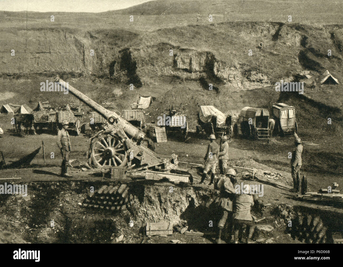 French artillery, 155 mm Gun, Salonica Front, ww1, wwi, world war one - Stock Image
