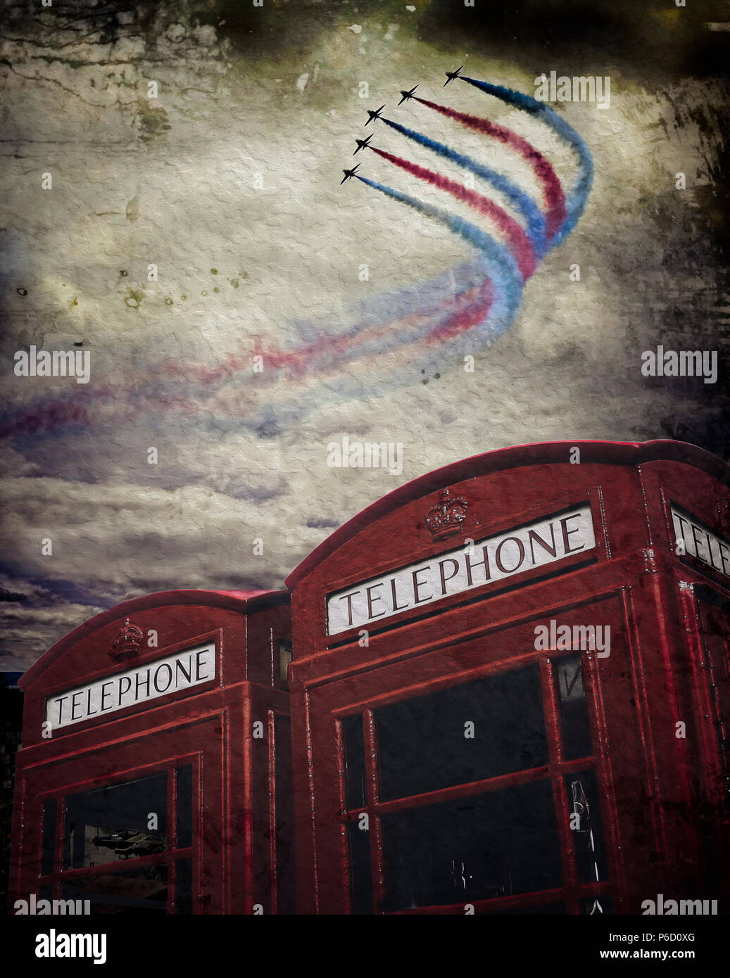 DIGITAL ART: The RAF Red Arrows over British telephone boxes - Stock Image