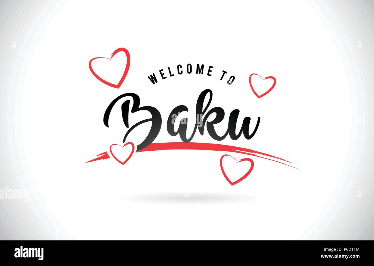 Baku Welcome To Word Text with Handwritten Font and Red Love Hearts Vector Image Illustration Eps. - Stock Vector