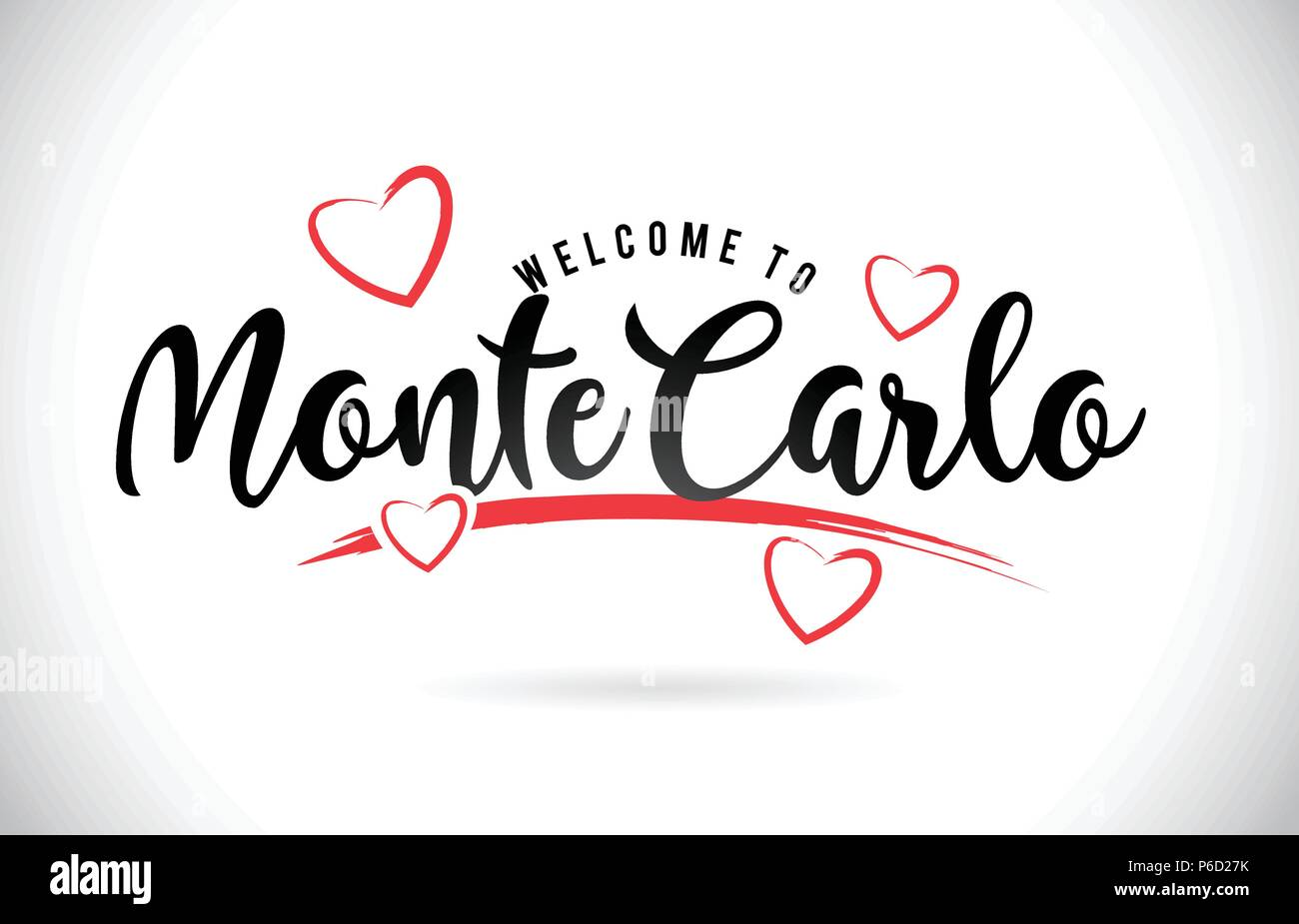 MonteCarlo Welcome To Word Text with Handwritten Font and Red Love Hearts Vector Image Illustration Eps. - Stock Vector
