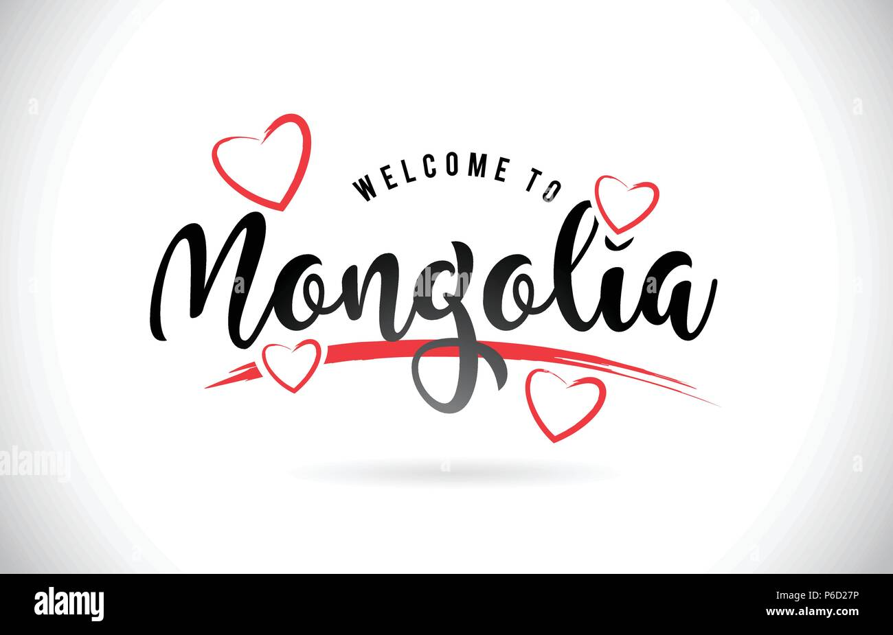 Mongolia Welcome To Word Text with Handwritten Font and Red Love Hearts Vector Image Illustration Eps. - Stock Vector