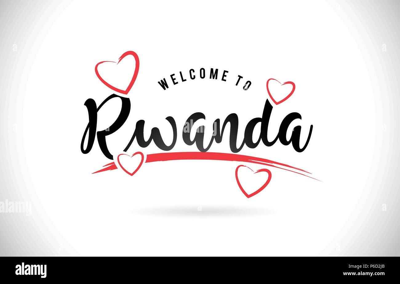 Rwanda Welcome To Word Text with Handwritten Font and Red Love Hearts Vector Image Illustration Eps. - Stock Vector