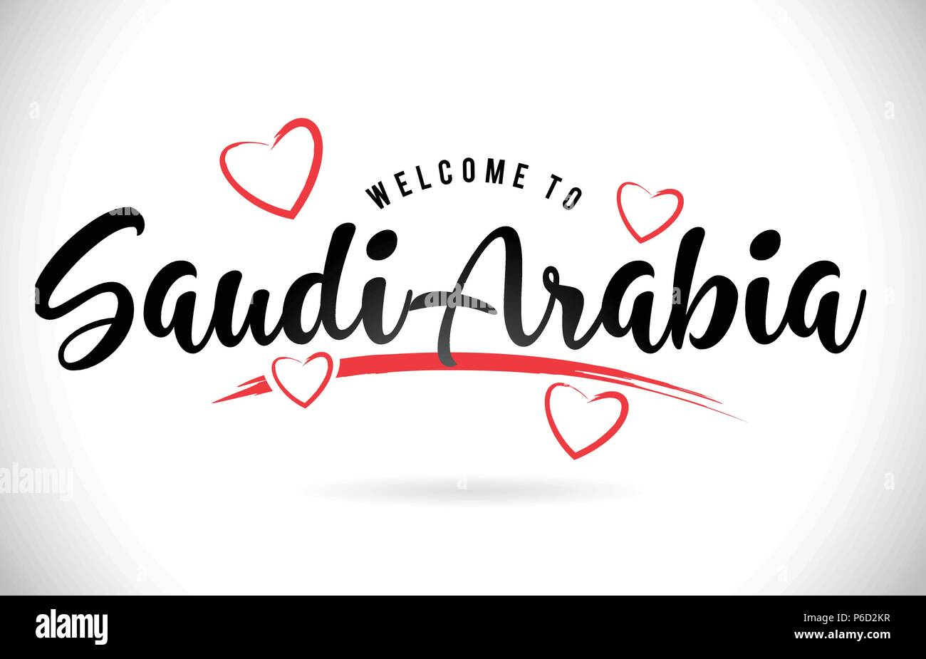 SaudiArabia Welcome To Word Text with Handwritten Font and Red Love Hearts Vector Image Illustration Eps. - Stock Image