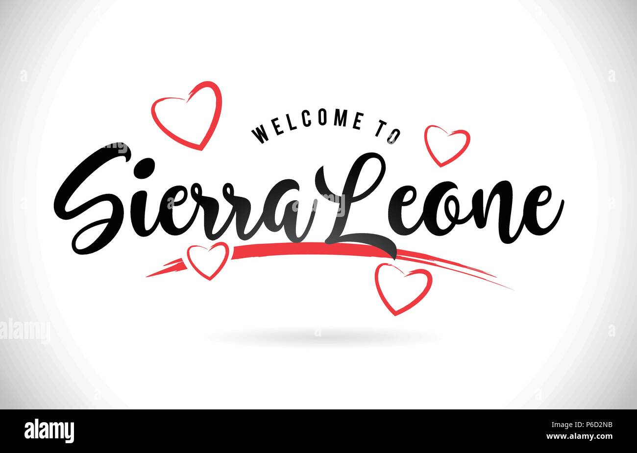 SierraLeone Welcome To Word Text with Handwritten Font and Red Love Hearts Vector Image Illustration Eps. - Stock Image
