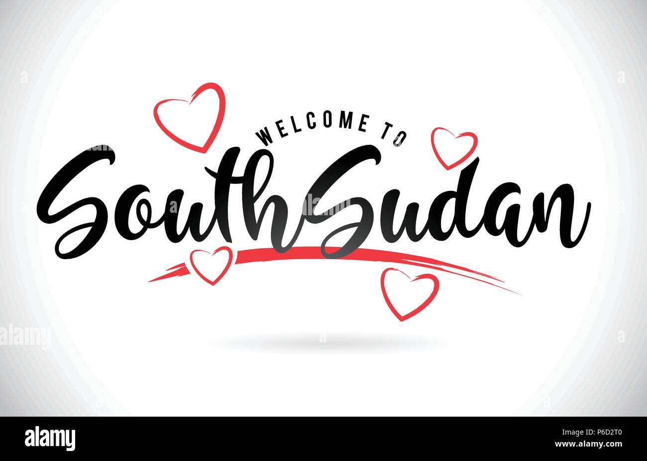 SouthSudan Welcome To Word Text with Handwritten Font and Red Love Hearts Vector Image Illustration Eps. - Stock Image