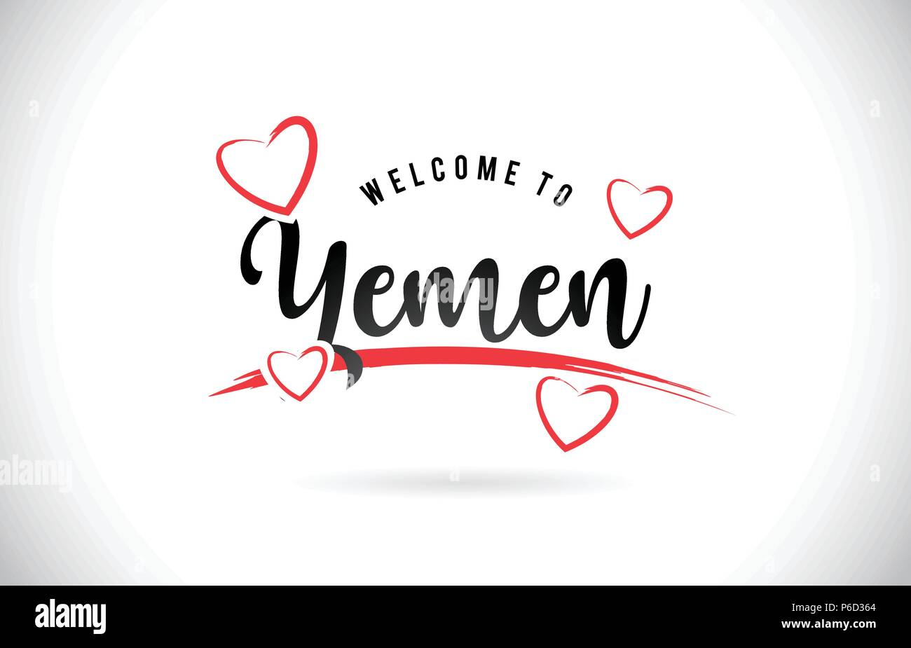 Yemen Welcome To Word Text with Handwritten Font and Red Love Hearts Vector Image Illustration Eps. - Stock Vector