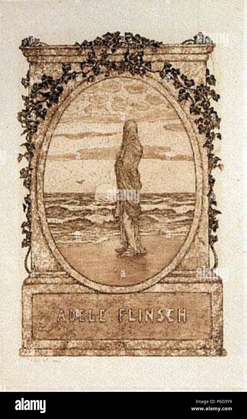 Ex Libris Adele Flinsch. Radierung, 11,7 × 7,2 cm. Adele Flinsch (*1873 Frankfurt-N.N.) stammte aus der deutschen, weitverzweigten Papierproduzenten- und Papierhändlerfamilie Flinsch, der auch die berühmte Schriftgießerei Flinsch gehörte. Ihre Eltern waren Walter Wilhelm Christian Ferdinand Flinsch (*1849-N.N.) und Adele Julia Kissel (*1851-N.N.) . 1907 52 Heinrich Vogeler Ex libris Adele Flinsch - Stock Image