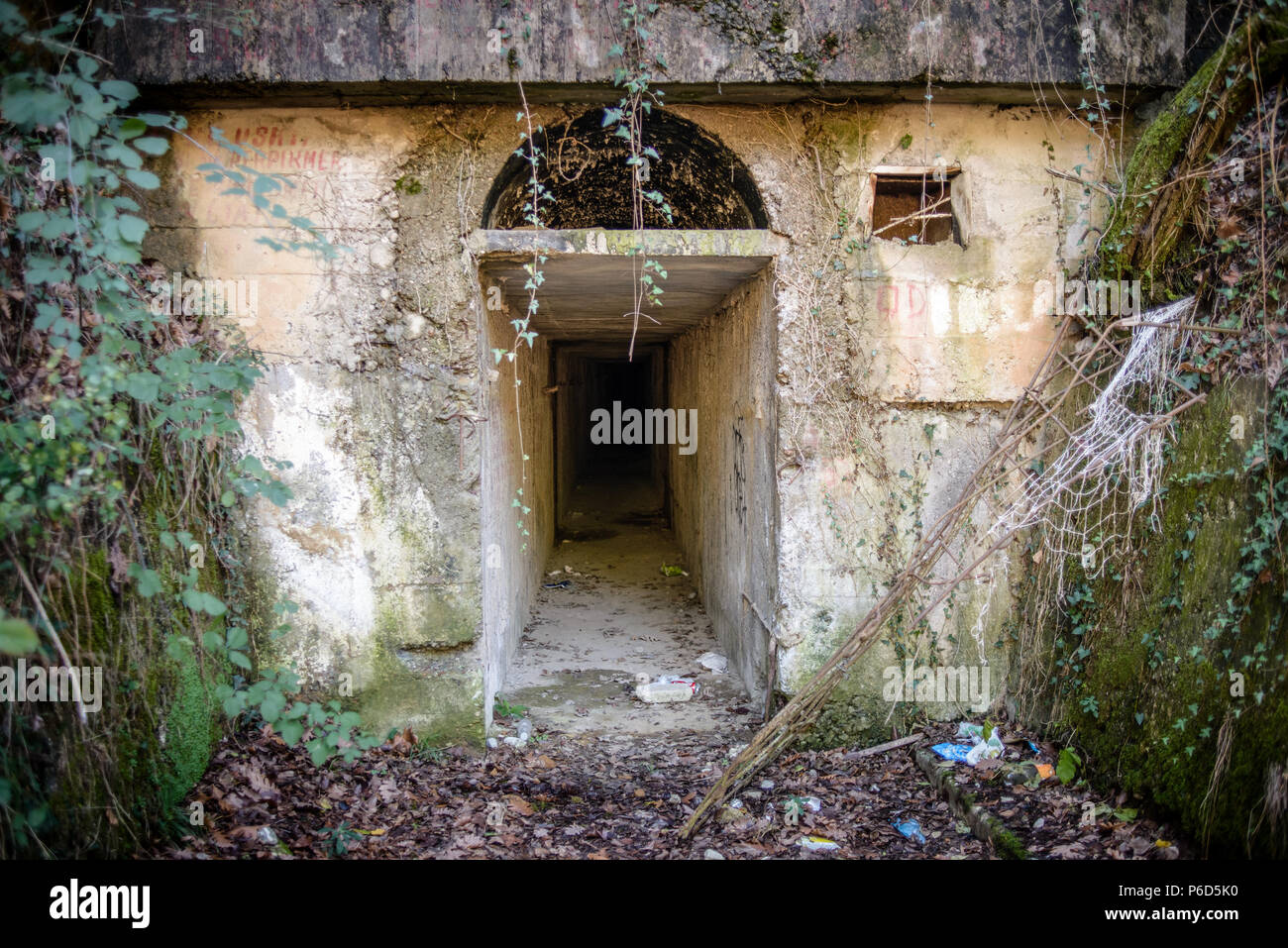 Entrance to the bunker, Tirana, Albania - Stock Image