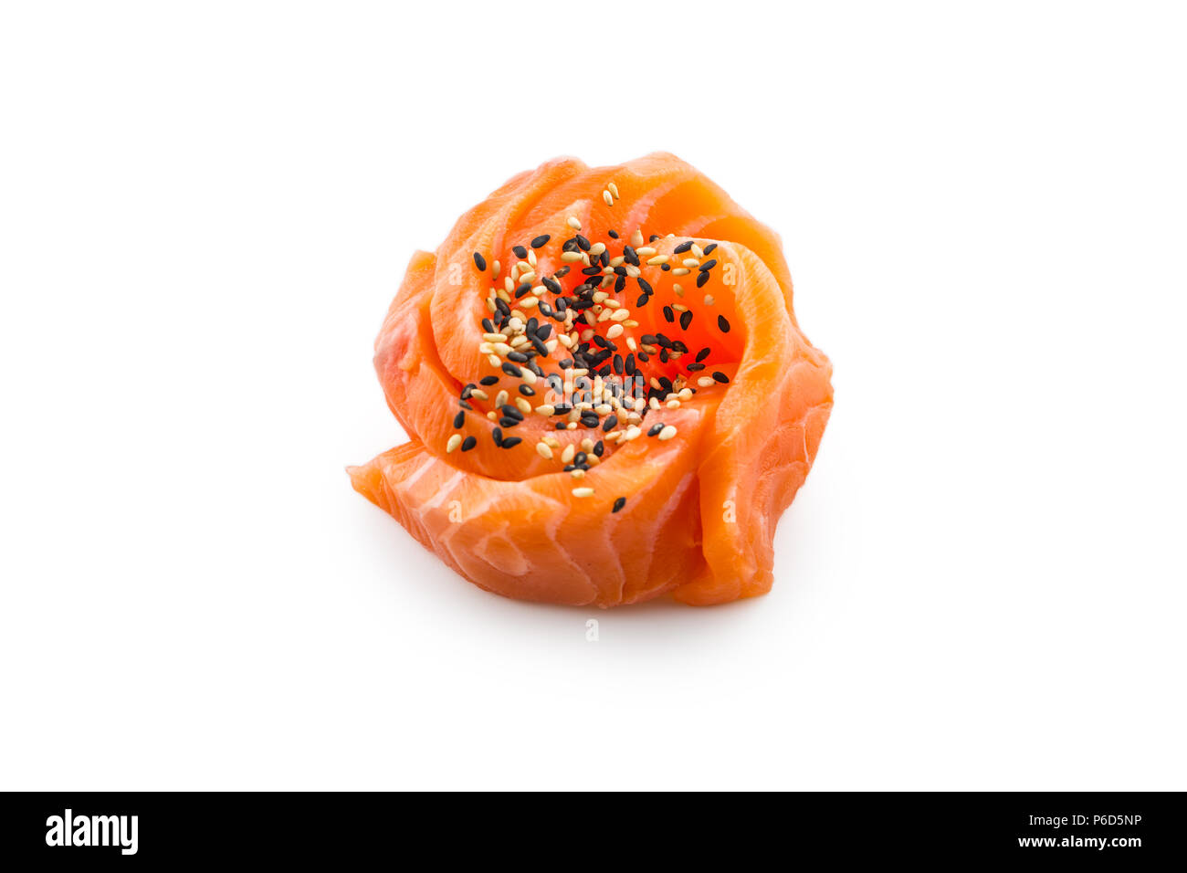 Fillets of raw salmon with sesame isolated on white background. - Stock Image