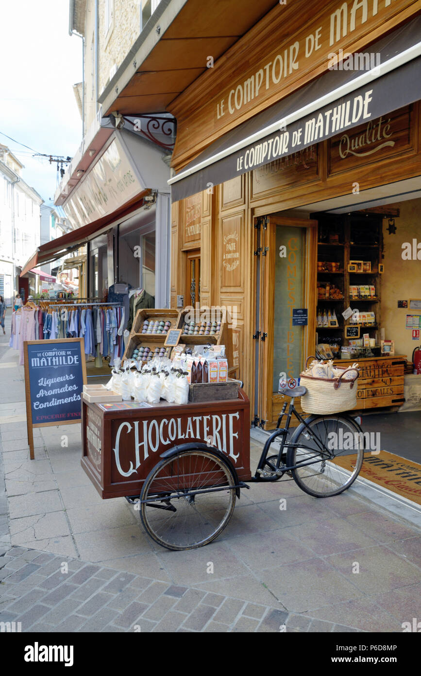 Tricycle Delivery Bike, Advertising or Publicity Bike or Bicycle Outside Chocolaterie or Confectionery Store Vaison-la-Romaine Provence France - Stock Image