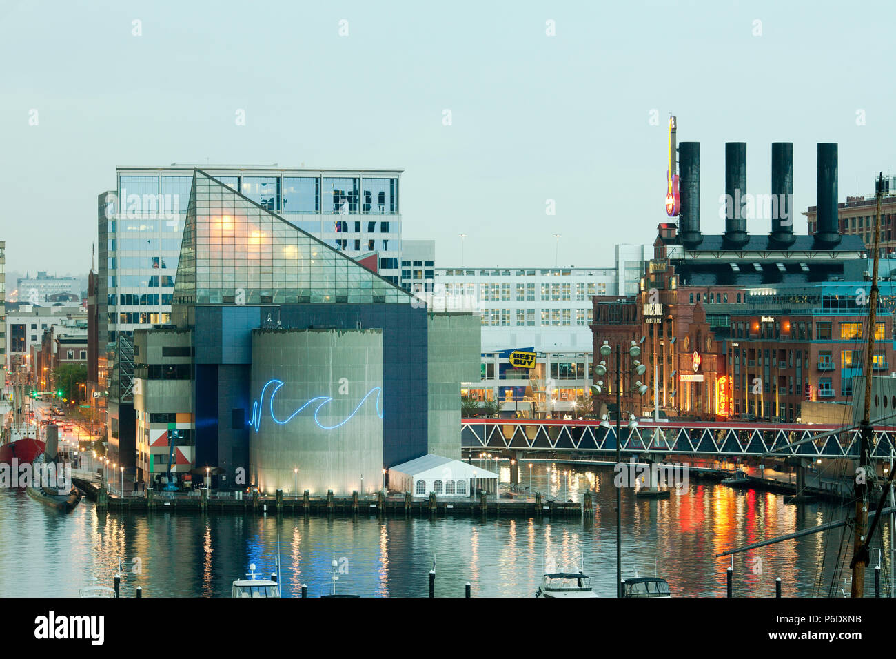 Baltimore, Maryland, United States -  National Aquarium and Power Plant at Inner Harbor. - Stock Image
