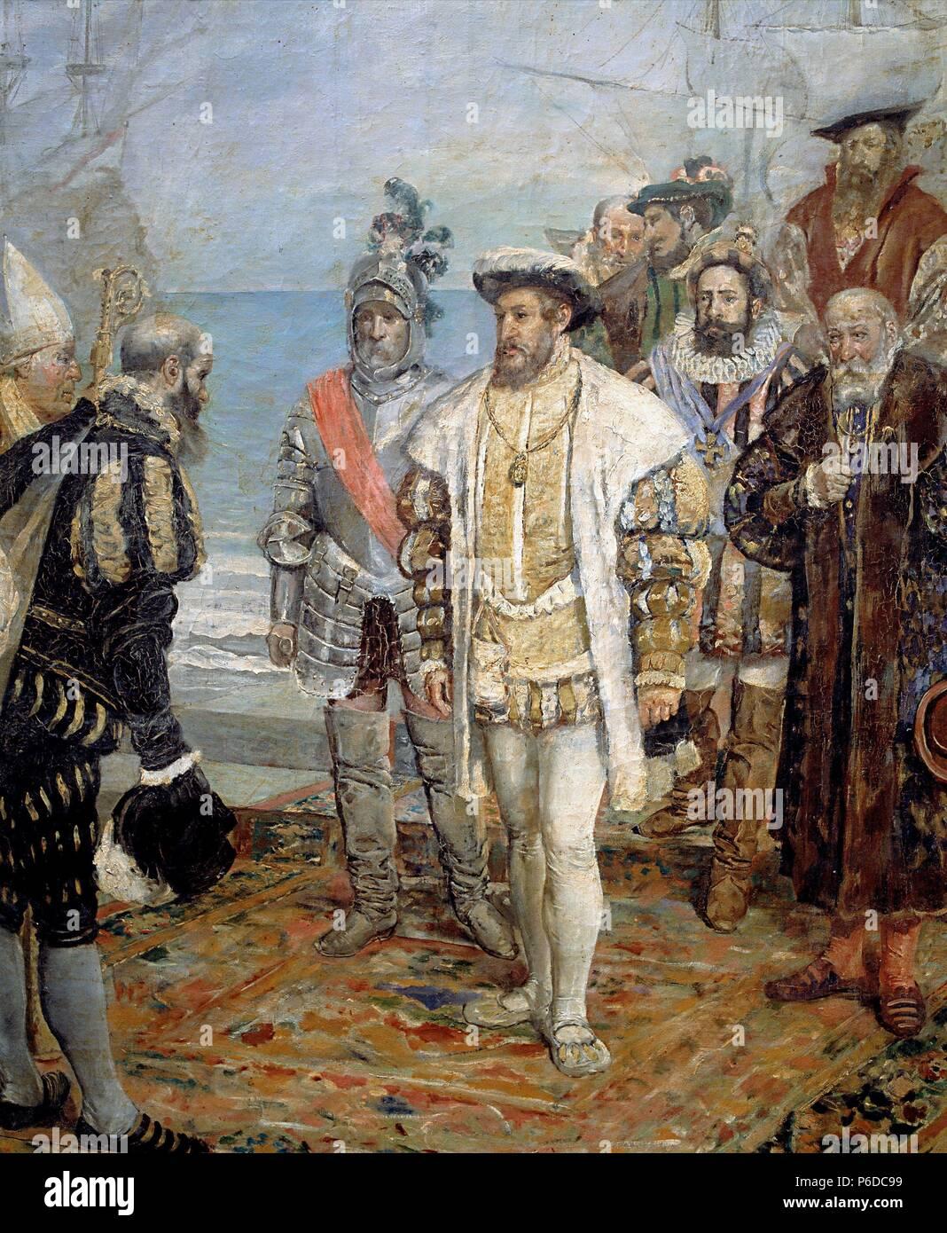 Francisco I Rey De Francia 1494 1547 Desembarco De Francisco I En El Puerto De Valencia Detalle Oleo De Ignacio Pinazo Palacio De La Generalitat De Valencia Stock Photo Alamy