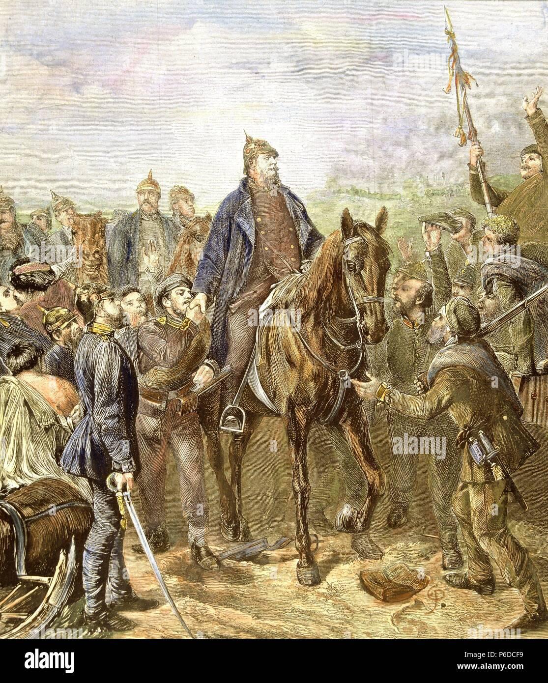 GUILLERMO I. REY DE PRUSIA Y EMPERADOR DE ALEMANIA. 1797-1888. EL REY TRAS SU VICTORIA DE SEDAN CONTRA LOS FRANCESES EN 1870. - Stock Image