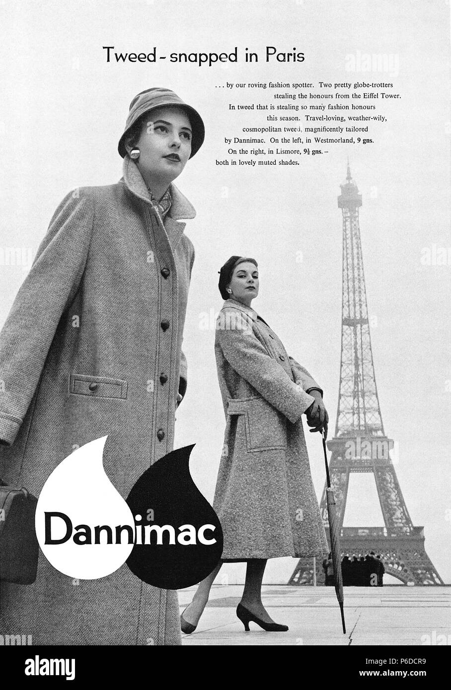 1956 British advertisement for women's tweed overcoats by Dannimac. - Stock Image