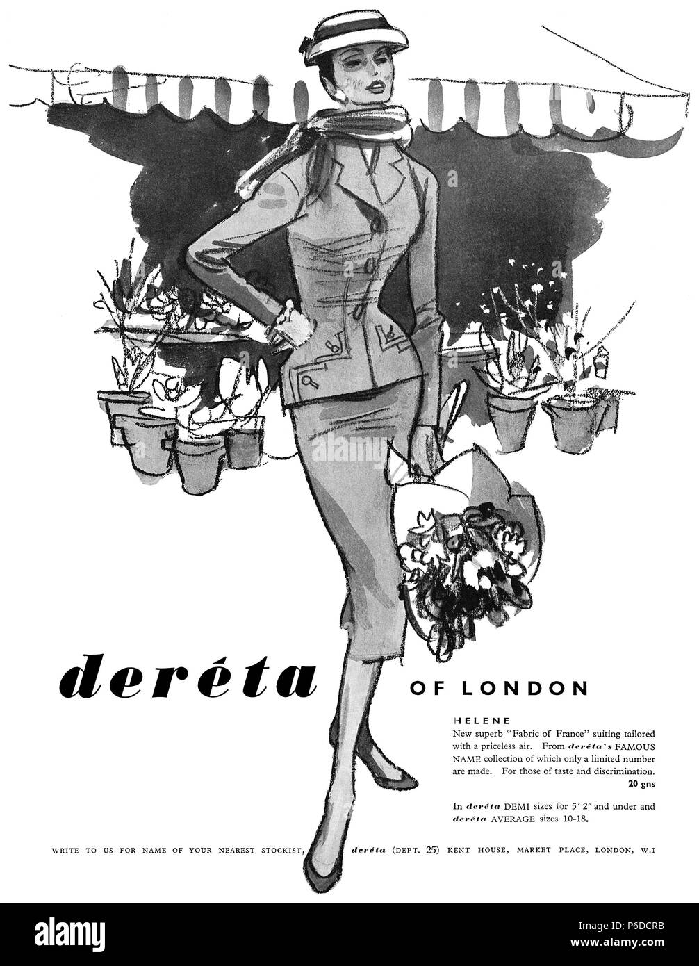 1956 British advertisement for Deréta fashions, illustrated by Francis Marshall. - Stock Image