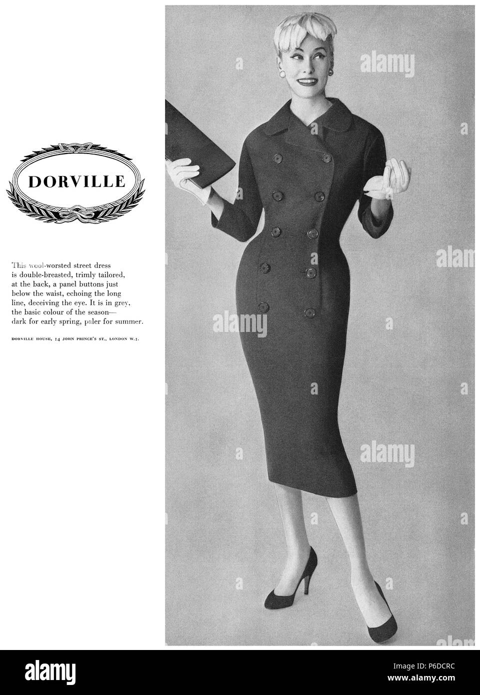 1956 British advertisement for Dorville fashions. - Stock Image