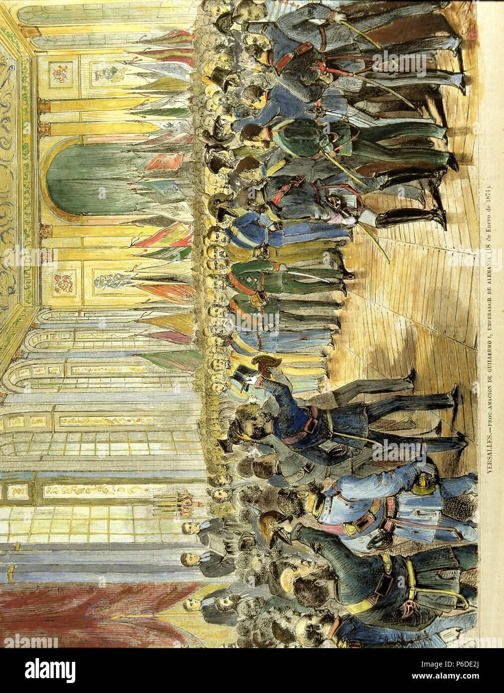 GUILLERMO I. REY DE PRUSIA Y EMPERADOR DE ALEMANIA. 1797-1888. PROCLAMACION COMO EMPERADOR DE ALEMANIA EN EL PALACIO DE VERSALLES, 18 DE ENERO DE 1871. - Stock Image