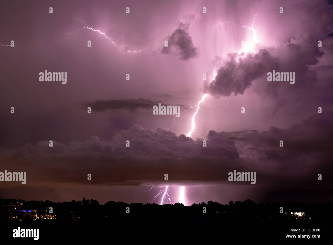 Thunder and Lightning, Gewitter, Blitz Stock Photo