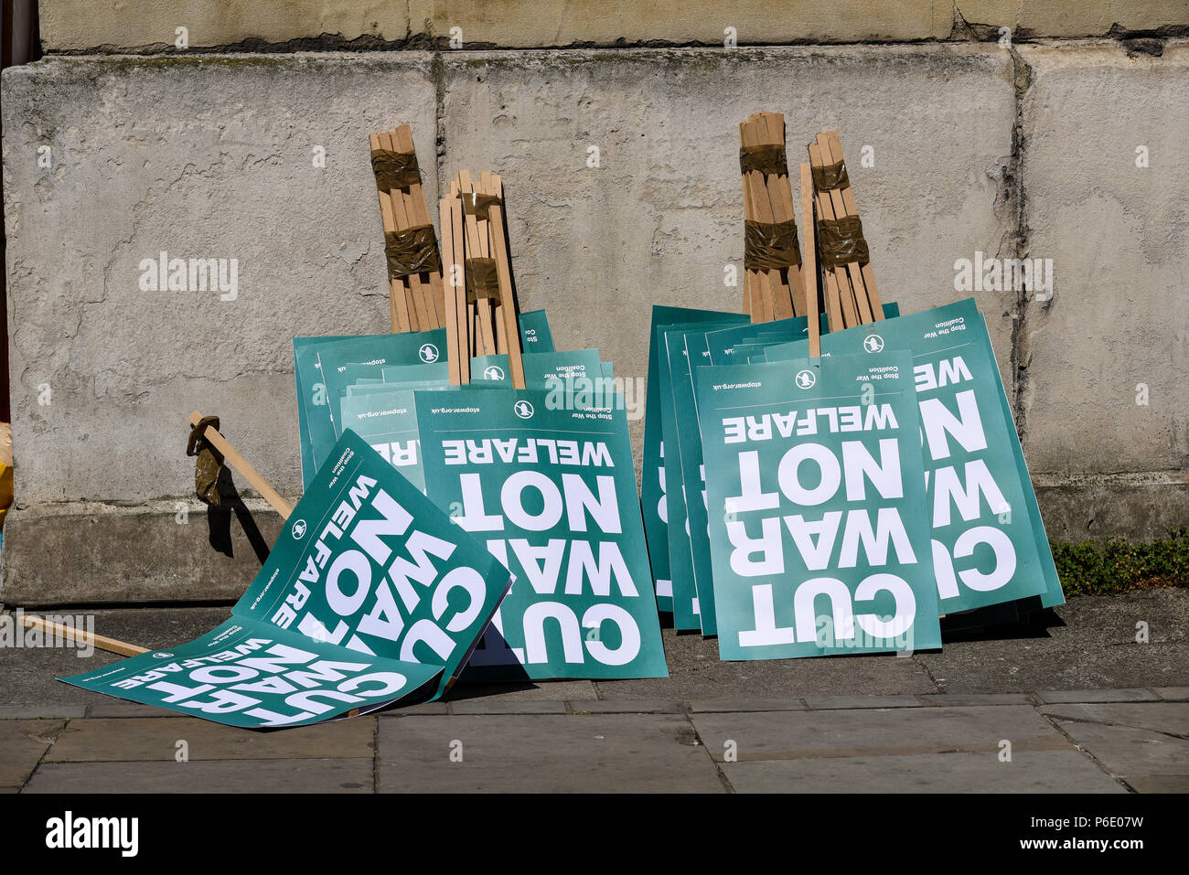 70th anniversary of the National Health Service. The event is also being used to demonstrate against austerity, funding cuts and attempts to sell departments to the private sector - Stock Image
