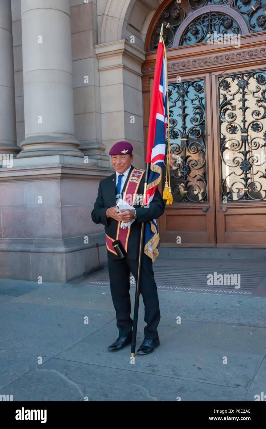 Glasgow, Scotland, UK. 30th June, 2018. A male veteran during Armed Forces Day. A parade through the city centre from Holland Street to George Square is led by the Royal Marine Band and includes serving military, cadets, youth organisations and veteran associations. Credit: Skully/Alamy Live News - Stock Image