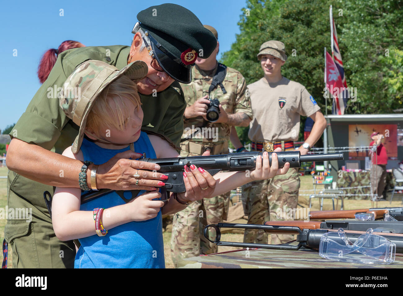 Warrington, UK, 30 June 2018 – Crosfields Rugby Amateur Rugby League Football Club Ground was the stage for the annual Armed Forces Day in Warrington. This was the 9th Annual Tom Sephton Memorial Trophy festival where various community groups, emergency services and Rugby organisations and charities provided interesting and engaging activities that added to the festival atmosphere of the event Credit: John Hopkins/Alamy Live News Stock Photo