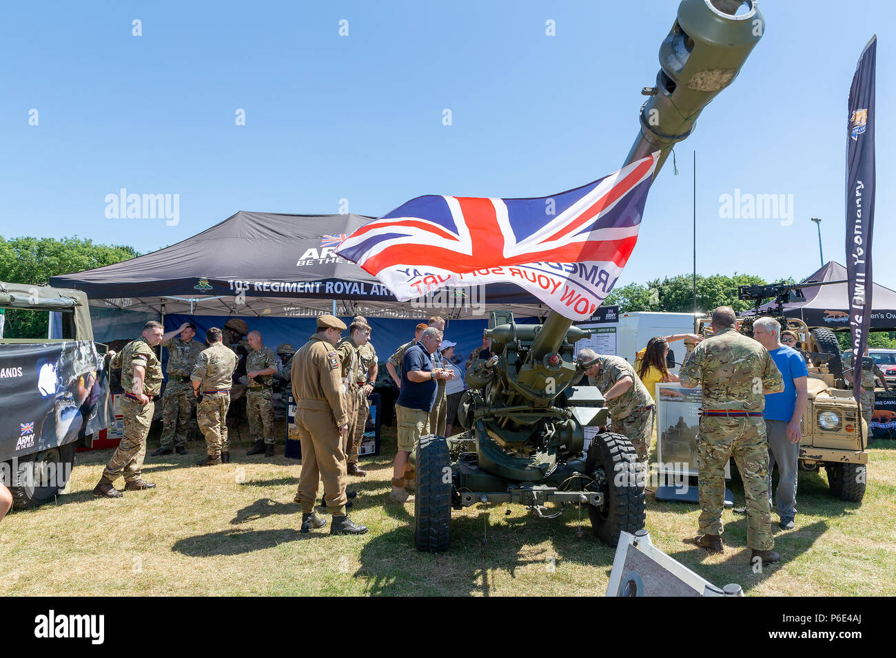 Warrington, UK, 30 June 2018 – Crosfields Rugby Amateur Rugby League Football Club Ground was the stage for the annual Armed Forces Day in Warrington. This was the 9th Annual Tom Sephton Memorial Trophy festival where various community groups, emergency services and Rugby organisations and charities provided interesting and engaging activities that added to the festival atmosphere of the event Stock Photo