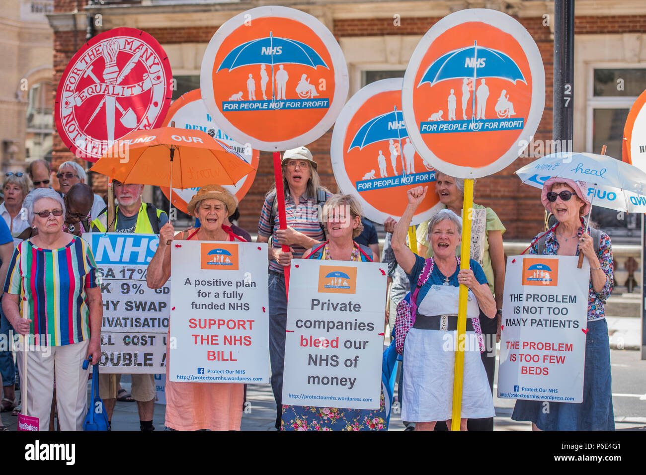 London, UK, 30 June 2018. #OurNHS70: free, for all, forever a protest and celebration march in honour of the 70 year history of the National Health Service. Organised by: The People's Assembly, Trades Union Congress, Unison, Unite, GMB, British Medical Association, Royal College of Nursing, Royal College of Midwives amongst others. - Stock Image
