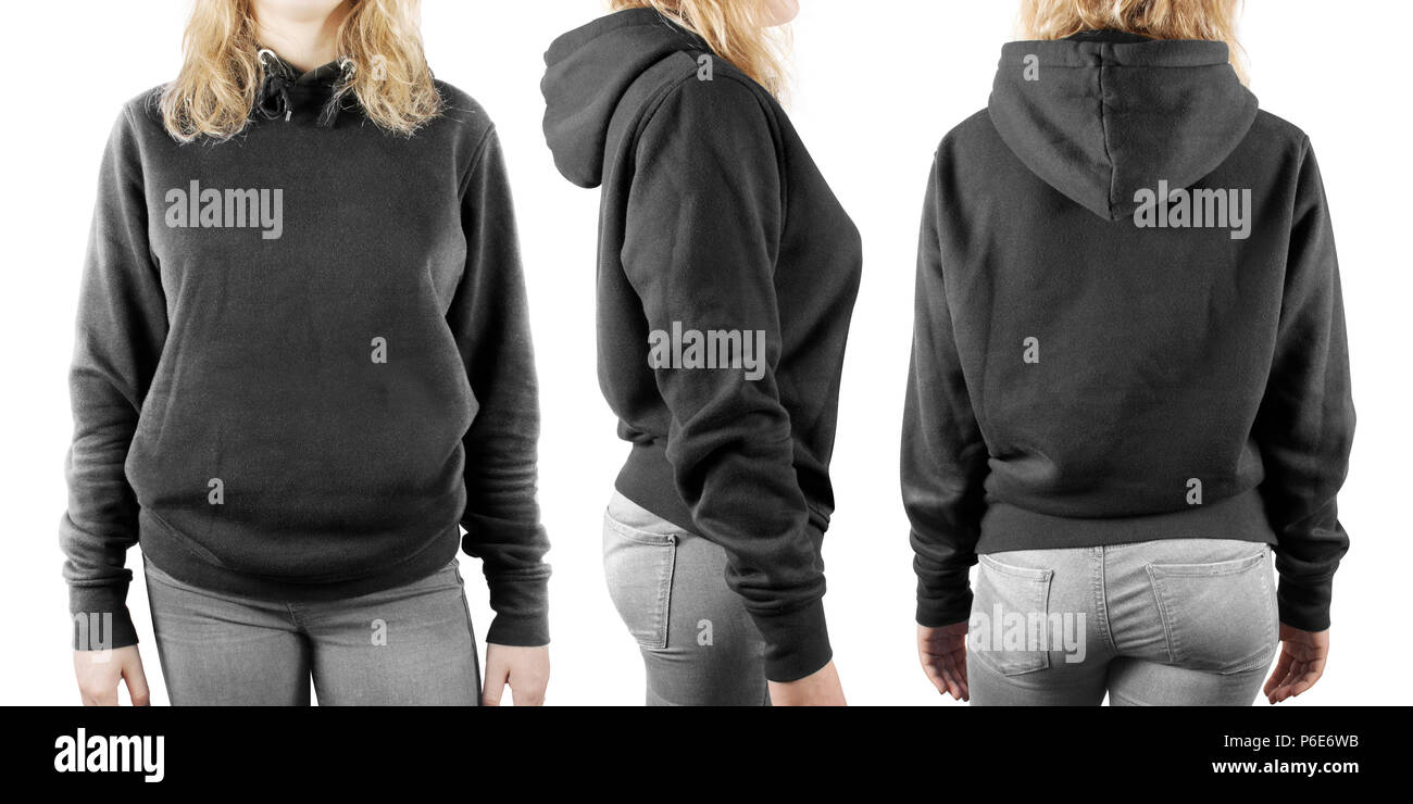 Blank black sweatshirt mock up set isolated, front, back and side view. Woman wear grey hoodie mockup. Plain hoody design presentation. Textile gray loose overall model. Pullover for print. - Stock Image