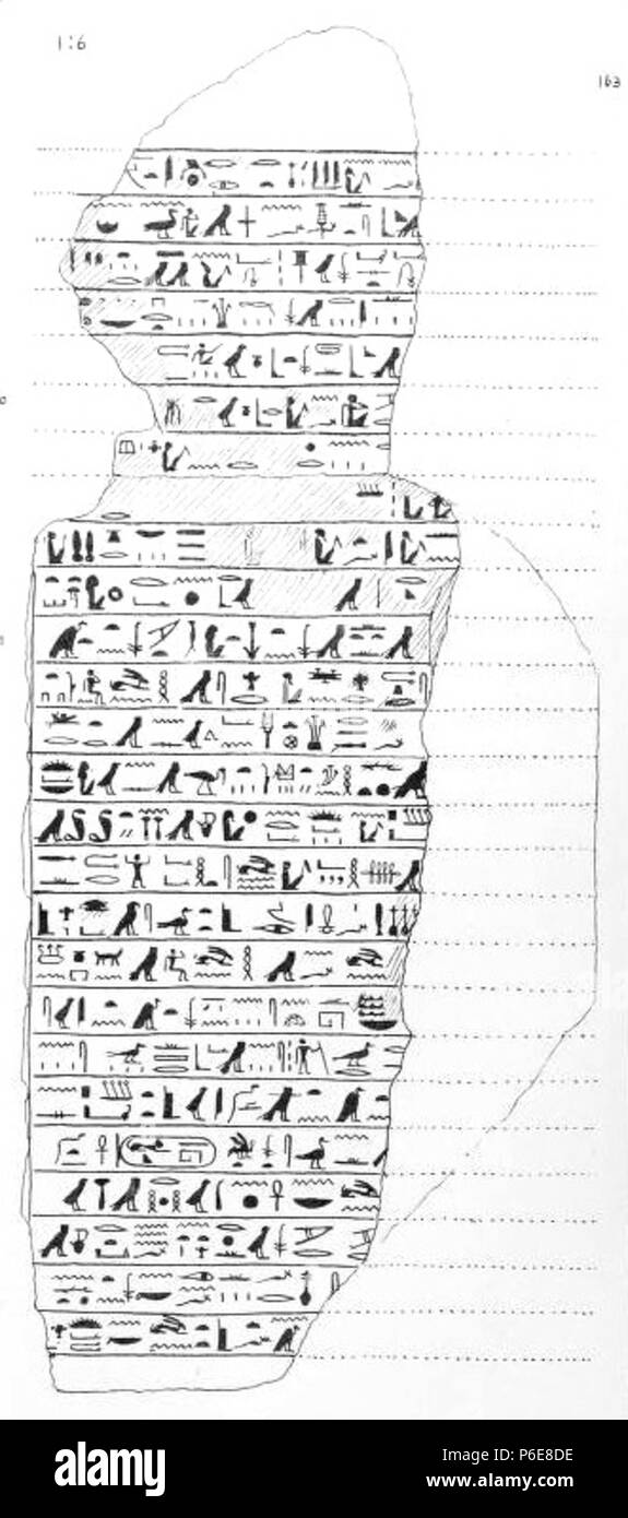 English: Drawing of an ancient Egyptian stela celebrating the exceptionally large Nile flood which occurred in regnal Year 6 of pharaoh Taharqa (685-684 BCE), found in the Great Temple of Tanis. Reign of Taharqa, 25th Dynasty, Third intermediate period. Now in Cairo (37488). 1888 75 Stele Taharqa Tanis Petrie - Stock Image