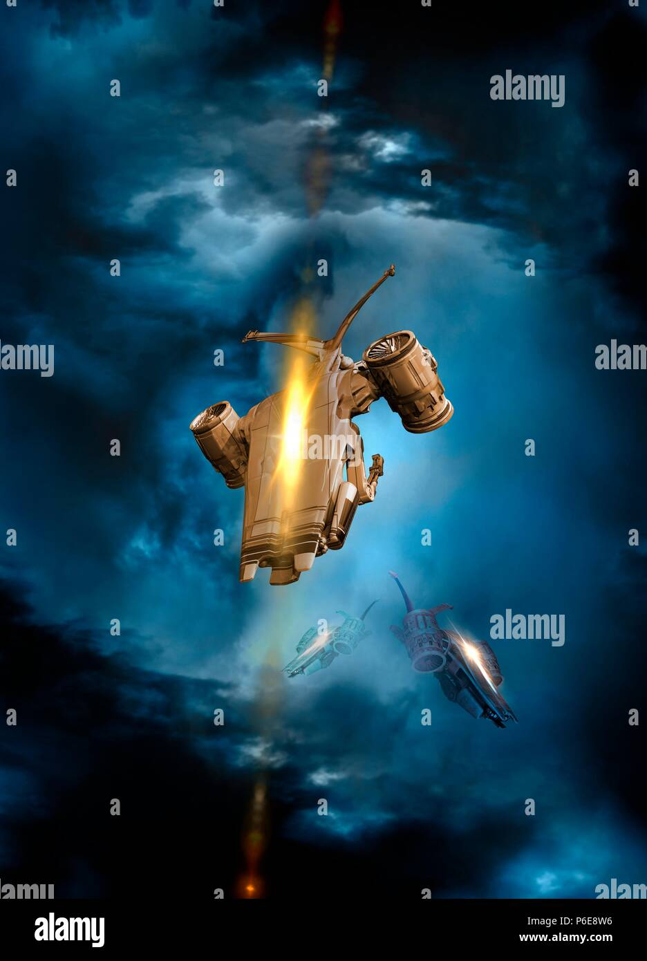 Drones in outer space, illustration. - Stock Image