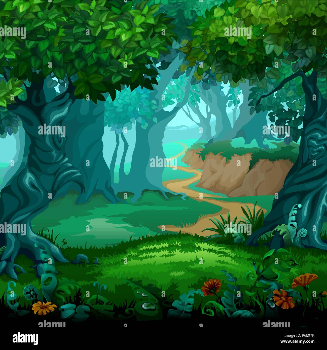 forest of magic moving trees vector cartoon close up illustration