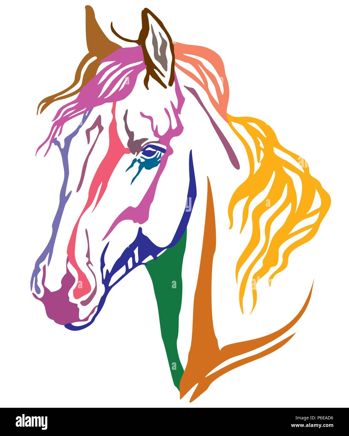 Colorful Decorative Portrait Of Arabian Horse Vector Illustration In Different Colors Isolated On White Background Image For Design And Tattoo Stock Vector Image Art Alamy