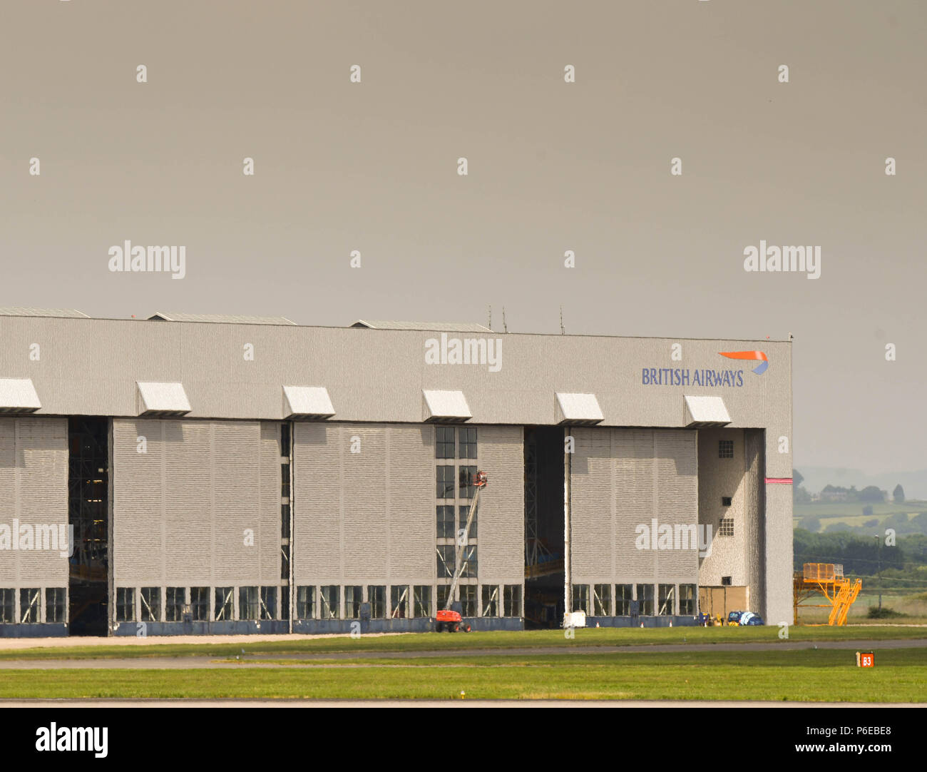 Landscape view of the British Airways maintenance facility hangar at Cardiff Wales Airport Stock Photo