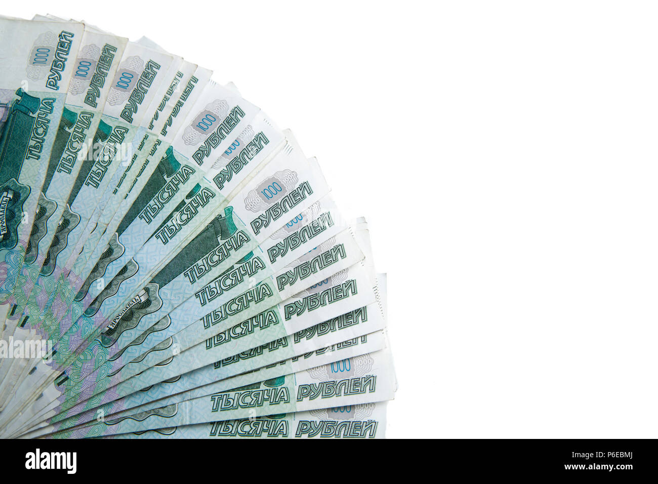 banknotes denominated 1000 rubles on a white - Stock Image
