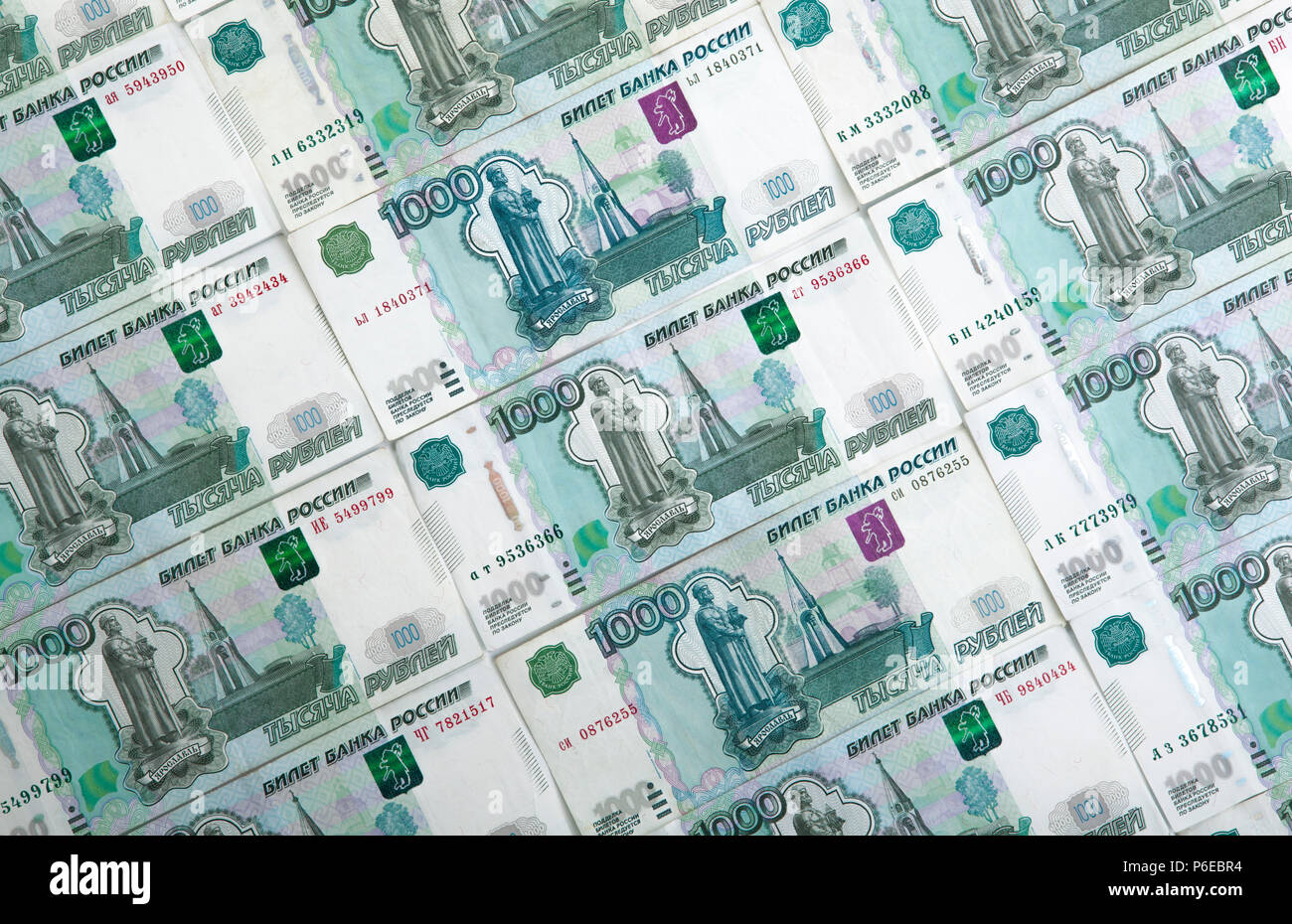 banknotes denominated 1000 rubles ranked in - Stock Image