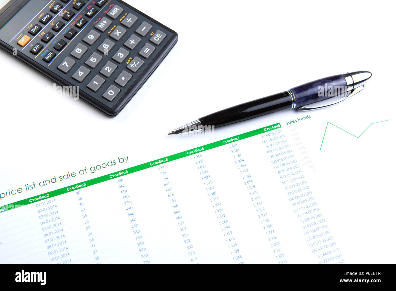 business still-life with digits and calculator closeup - Stock Image