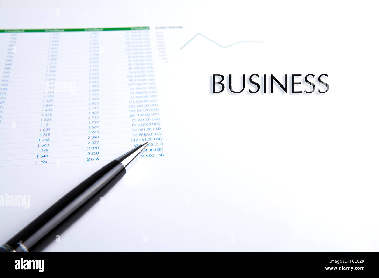 business still-life with pen on a white closeup - Stock Image