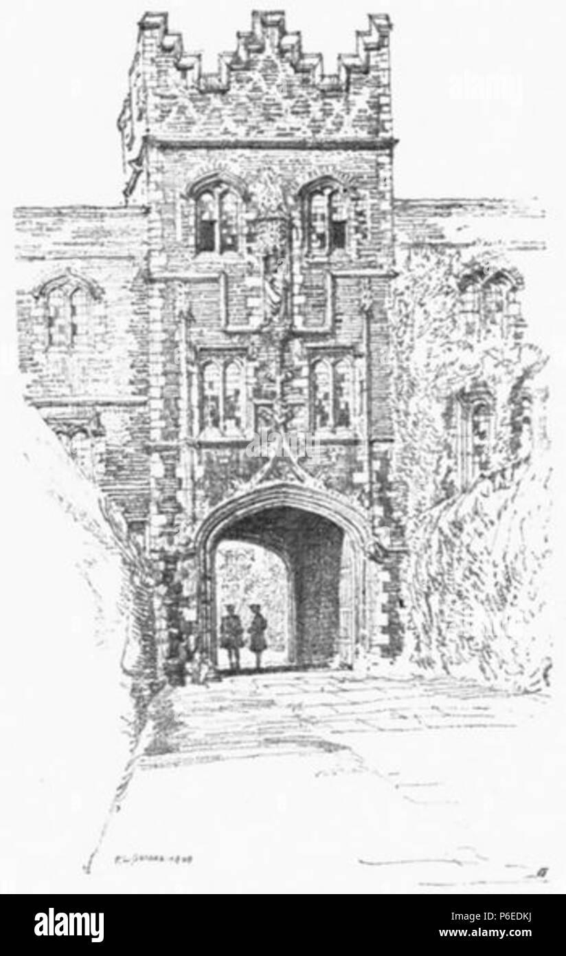 English: Entrance Gateway of Jesus College, Cambridge . 1910 50 Griggs 1910 - Jesus College Gateway - gutenberg 38735 img033 - Stock Image