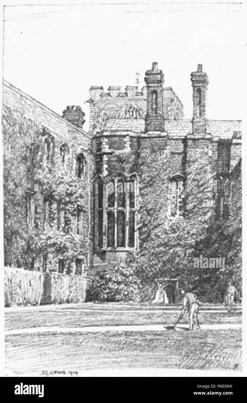 English: The Back Court of Jesus College, Cambridge . 1910 50 Griggs 1910 - The Back Court, Jesus College - gutenberg 38735 img034 - Stock Image
